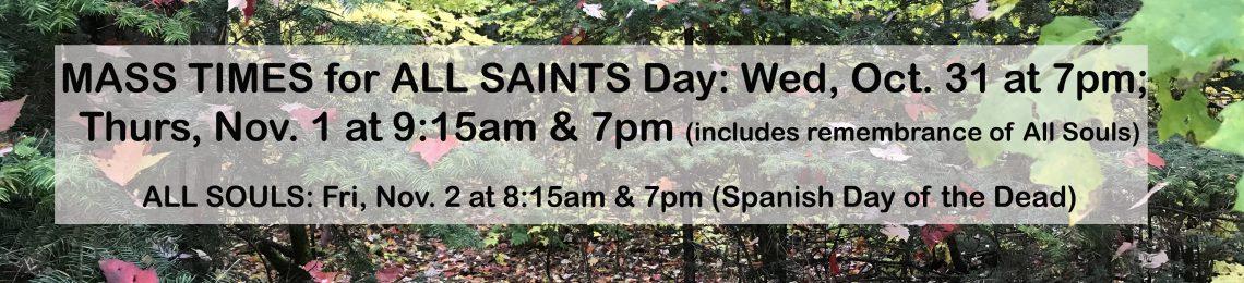 All Saints & Souls Mass Times